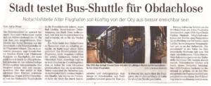 Stadt testet Bus-Shuttle für Obdachlose - HAZ, 07.02.19
