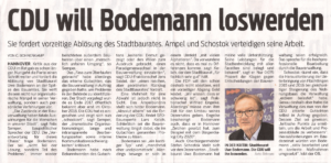 CDU will Bodemann loswerden - Artikel in Neue Presse, 10.01.19