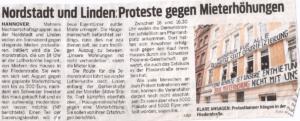 Nordstadt und Linden: Proteste gegen Mieterhöhungen, Neue Presse, November 2018