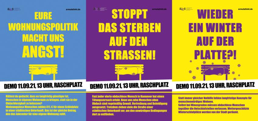 Demo-Plakate 11.09.21, Raschplatz Hannover